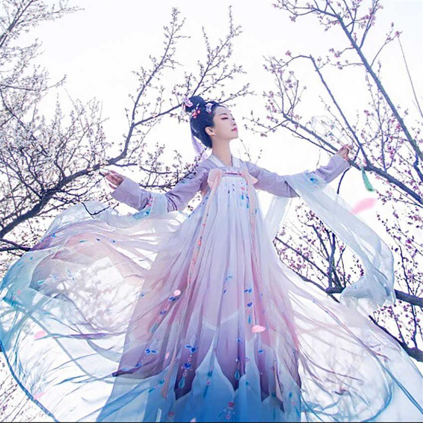 ผู้หญิงจีนแบบดั้งเดิมเครื่องแต่งกาย Elegant Fairy ประสิทธิภาพ Hanfu เย็บปักถักร้อย Oriental Tang โบราณชุดถ่ายภาพ