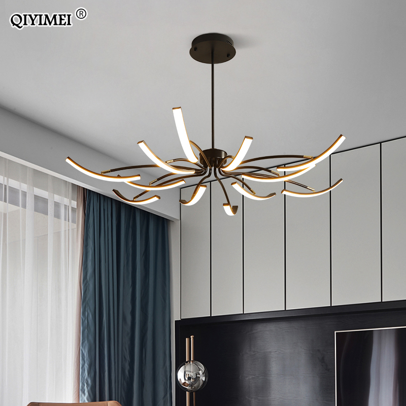 White Black Modern Led Chandeliers  For Living Dining Room Dimmable Remote Controller Iron Body Lighting Fixture Kitchen Lustre