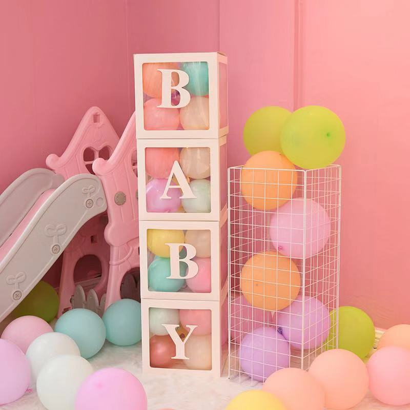 Transparent Name Age Balloon Box Baby Shower Decoration 1st Birthday Party Decor Favor Kids Babyshower Supplies Gift Christening