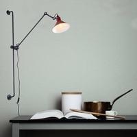 European Art Decor LED Wall Mounted Bedside Light White Black Adjustable Long Arm Wall Lamp
