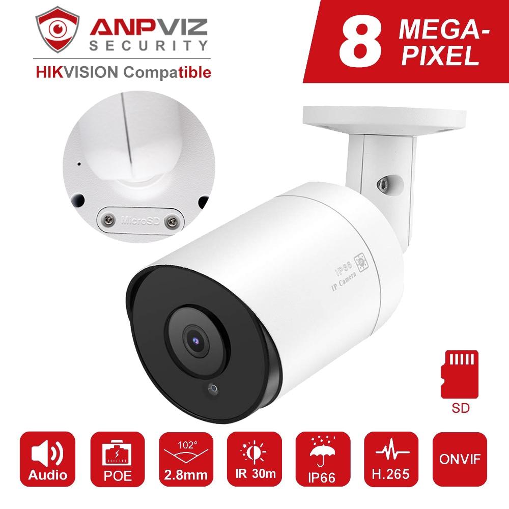 Kompatybilny z Hikvision kamera IP Anpviz PoE 8MP H.265 nadzór wideo kamery zewnętrzne 2.8mm zdalny dostęp Onvif NAS Mic Audio