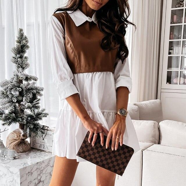 Women Plaid Dress Spring Fashion Long Sleeve PU Leather Patchwork Shirt Dress Turn-down Collar Office Lady Mini Dress Vestidos 3