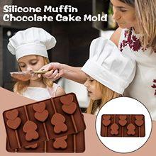 Moules à sucettes en Silicone en forme de fleur, rond, cœur, chocolat, bonbons à la gelée, Donut, outils de décoration de gâteau, marron, 3 pièces, vente en gros