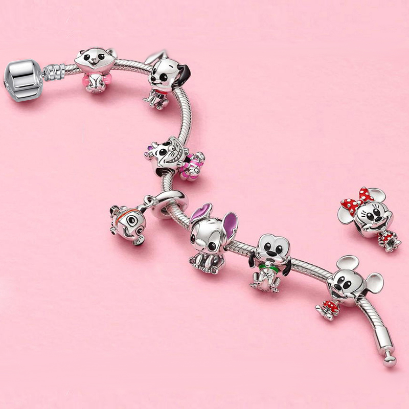 Silver Color Cartoon Stitch Bruto Cheshire Cat Beads <font><b>Charm</b></font> <font><b>Bracelets</b></font> Bangles With Pendant DIY Fit <font><b>Pan</b></font> <font><b>Bracelet</b></font> Women Jewelry image