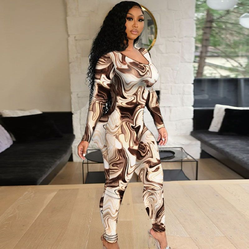 Sexy Skinny Hollow Out Camouflage Long Sleeve Plus Jumpsuit Women Low Cut Pencil Pants Rompers 2021 Fall Nightclub Streetwear 5