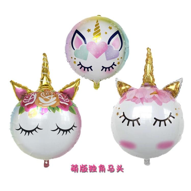1 шт. 90*60 милый фольгированный воздушный шар-единорог Днем Рождения» надувные шары для свадьбы и дня рождения с изображением единорога вечер...