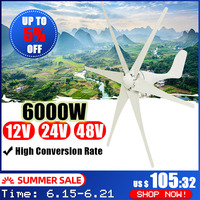 6000 w 12 v/24 v/48 v gerador de turbinas eólicas 6 lâminas turbinas eólicas eficientes turbinas eólicas de energia doméstica horizontal