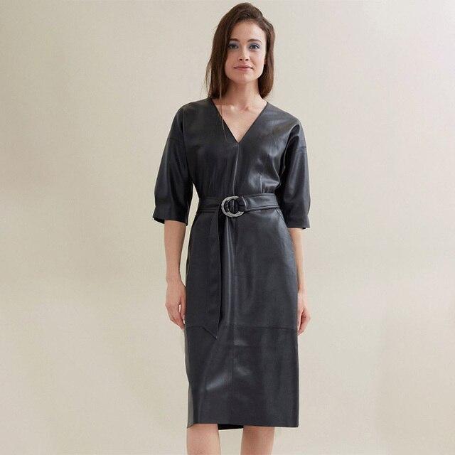 Robe en cuir à ceinture 1