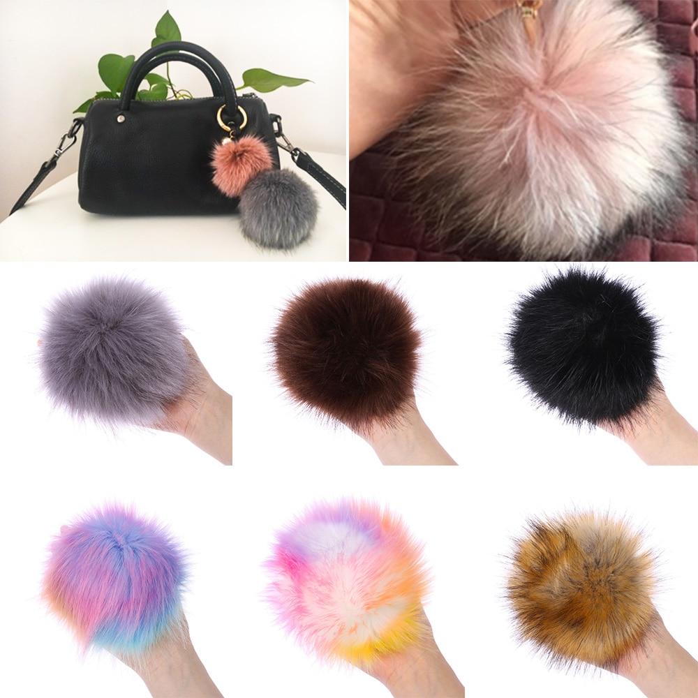 Fashion 15cm Foxes Fur Pompom Women Hat Fur Pom Poms Hats Caps Big Natural Raccoon Fur Poms Fur Ball Pompon for Knitted Hat Cap