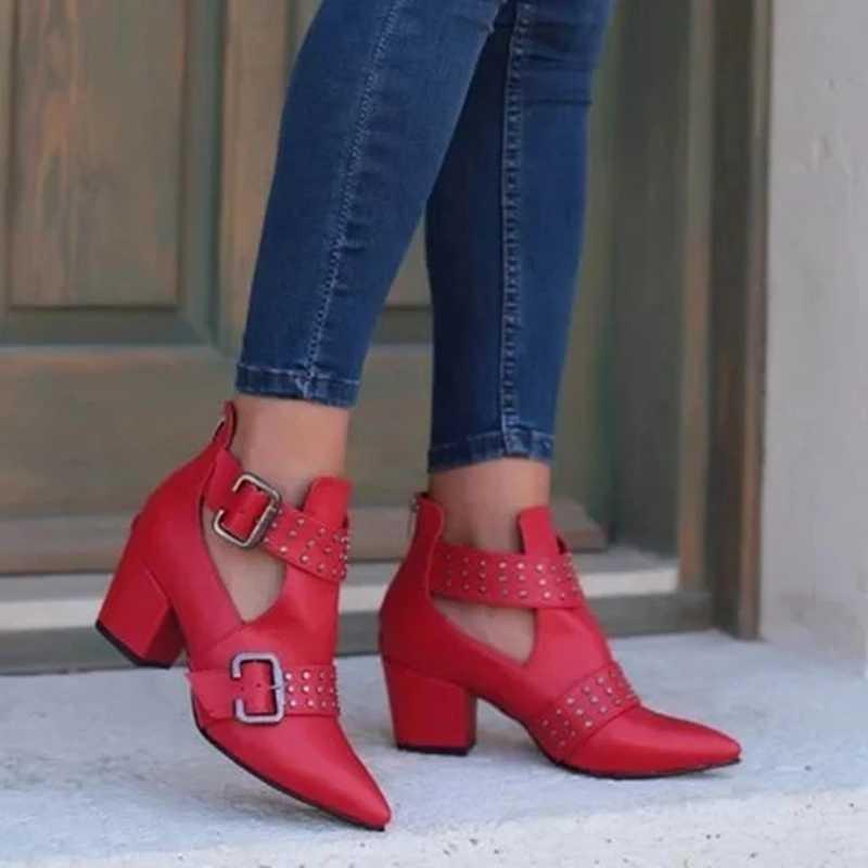 ADISPUTENT bottes femme Vintage bottines creuses bout pointu bottes caoutchouc talon carré chaussures gothiques Punk bottes rouges Botines