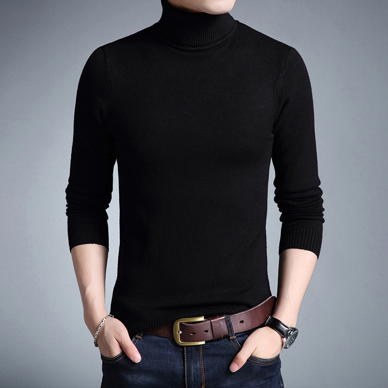 2019 Fashion Brand New Turtleneck Sweater Men Mens Pullover Slim Fit Jumpers Knitred Autumn Casual Men Clothes Pull Homme