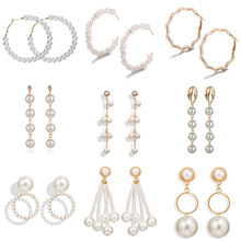ZORCVENS Vintage Large White Gold Pearl Hoop Earrings For Women Girl Original Twisted Circle Big Round Fashion Jewelry