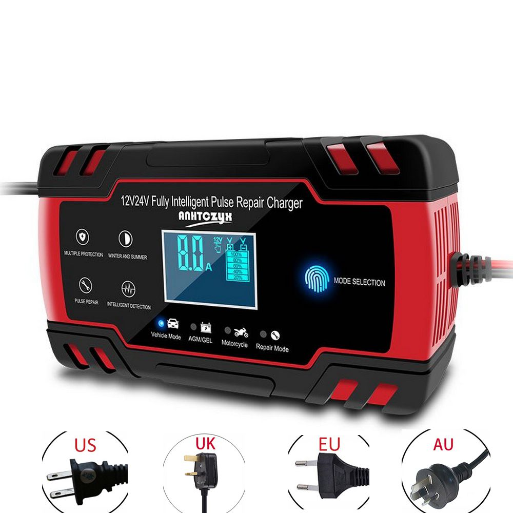 <font><b>Car</b></font> <font><b>Battery</b></font> Charger 12/24V 8A/4A Touch Screen Pulse Repair LCD <font><b>Battery</b></font> Standard Charger For <font><b>Car</b></font> Motorcycle Lead Acid <font><b>Battery</b></font> image