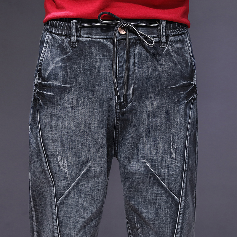 KSTUN haren jeans men motorcycle jeans streetwear drawstring elastic waist loose feet Pants outdoor leisure riding jeans joggers 17
