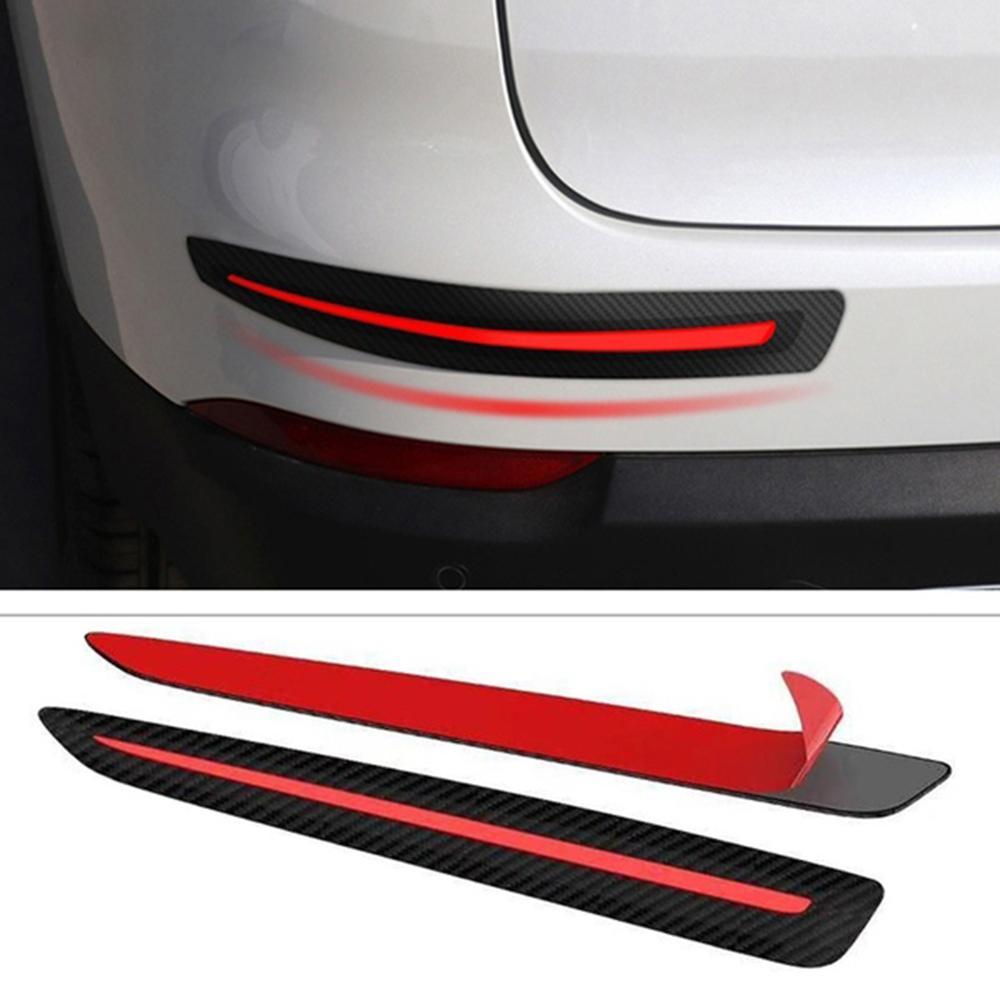 2PCS Rubber Front+Rear Bumper Scratch Protector Strip Corner Guard Sticker Well