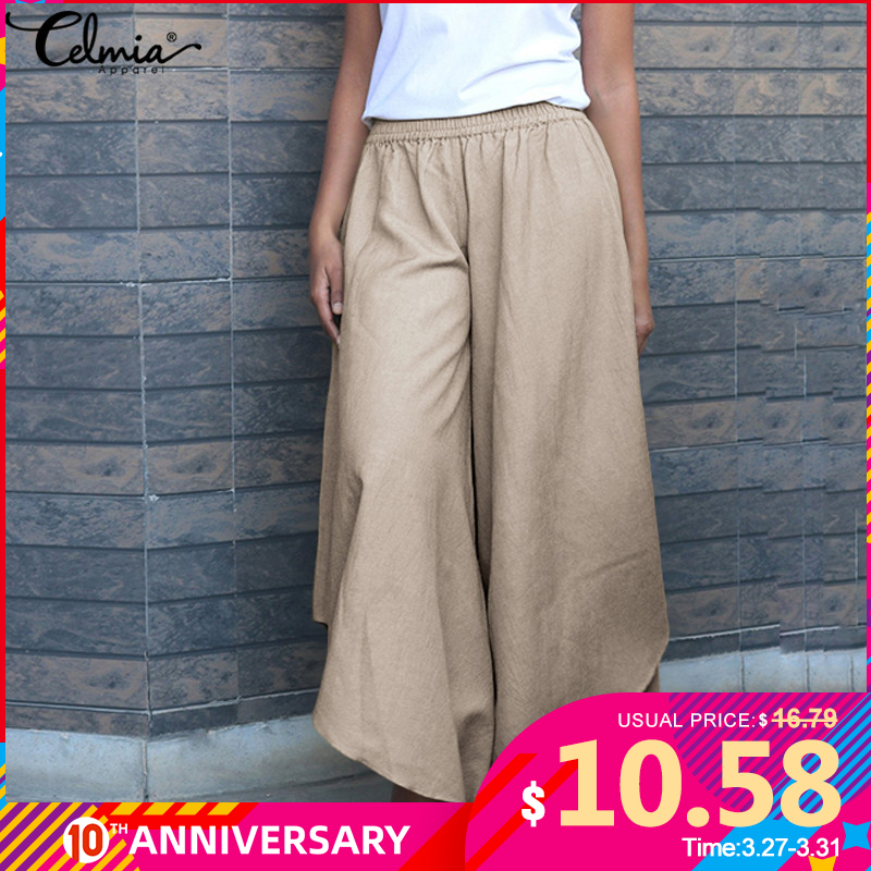 Celmia Women Fashion Vintage Wide Leg Pants Linen Trousers High Elastic Waist Palazzo Casual Loose Asymmetric Pantalon S-5XL