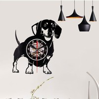 1pc Home Living Dog Theme Clock Best 3D Art Mirror Wall Clock Vinyl Record Wall Sticker Decoration for Home