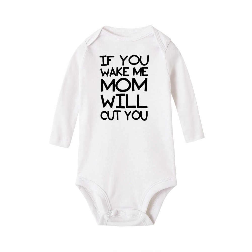 ถ้า Wake ME MOM จะตัดคุณเด็ก Bodysuits เด็กหญิงแขนยาว Jumpsuits Babe Coverall ฤดูหนาว Ropa ผ้าฝ้าย onesie