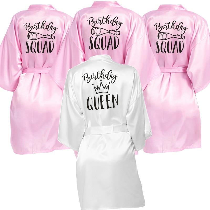 Birthday Queen&Squad Birthday Party Robe Satin Women Princess  Birthday Girl&Squad Party Favor Ladies Dressing Gift Kimono Robes