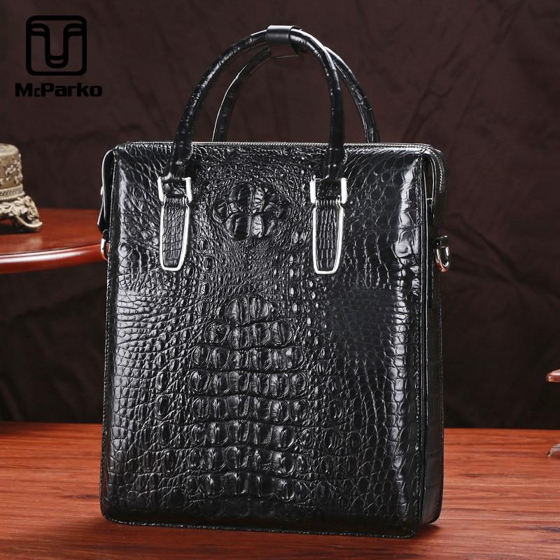 McParko Crocodile Briefcase Men Business Bag Genuine Leather Shoulder Bag Briefcase Men Hand Bag Brown Black