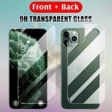 9H Front Glass Back Rear Film Transparent Tempered Glass For IPhone 11 Pro XR X XS Max 8 7 6 6s Plus Screen Protector Cover(China)
