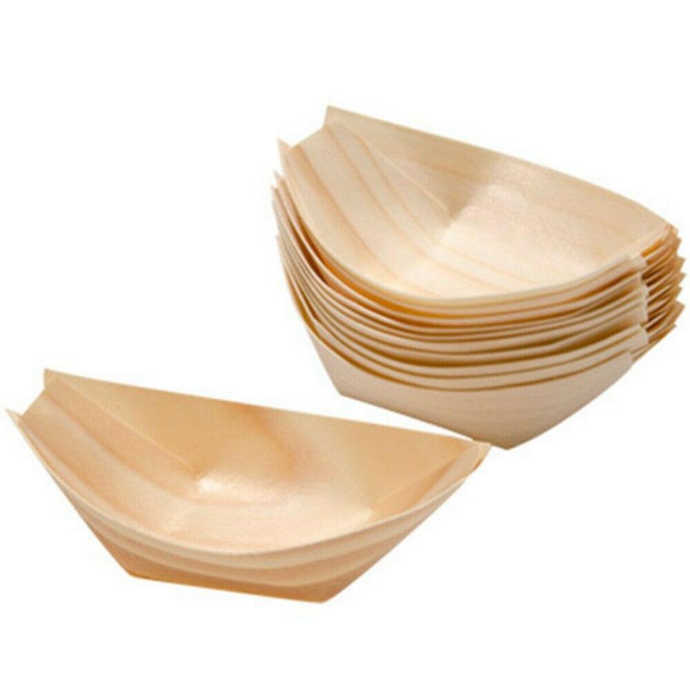 Одноразовый поднос для еды из соснового дерева, 50 шт.-2