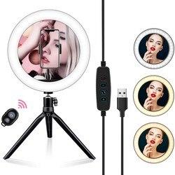 Светодиодная кольцевая лампа для селфи, Bluetooth светильник с дистанционным управлением для Youtube, прямых трансляций, телефона, со штативом и по...
