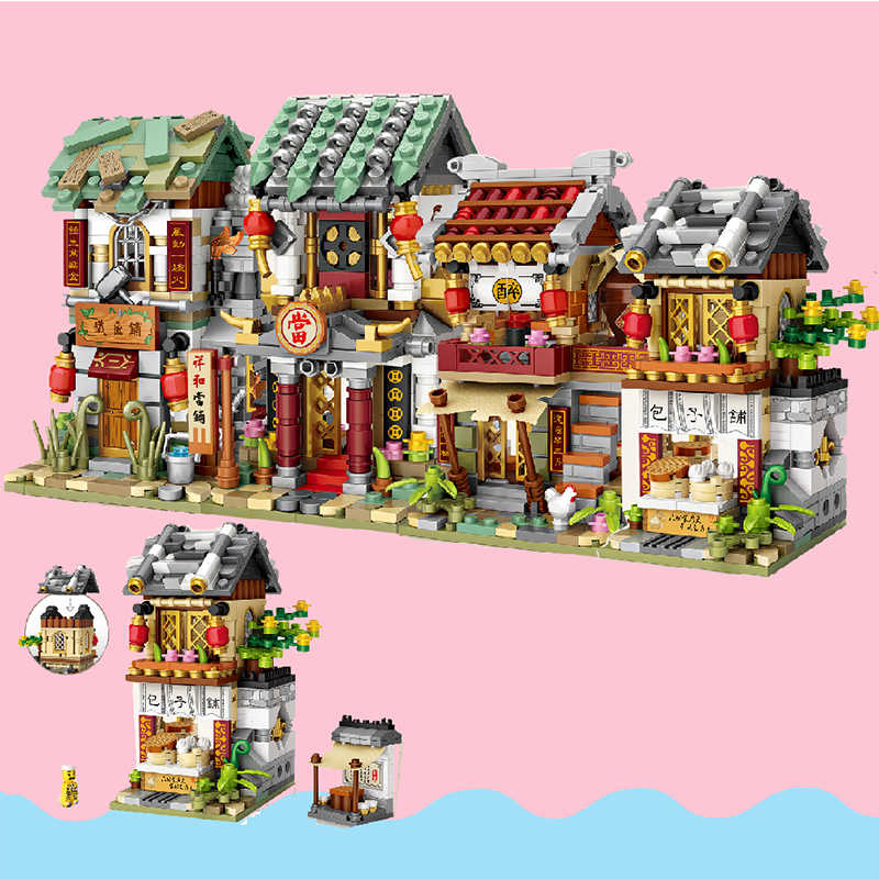 Ancient Restaurant Architecture Building-block Toys Compatible with Legoinglys DIY Educating Children Christmas Gifts
