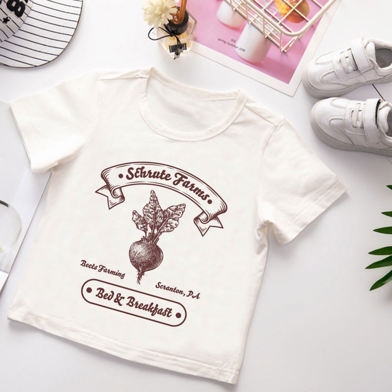 New T-shirt Kids Funny Short Sleeve Cartoon Radish Simple Printing Girls T Shirt Cute Design Boys Tshirts White Clothes Harajuku