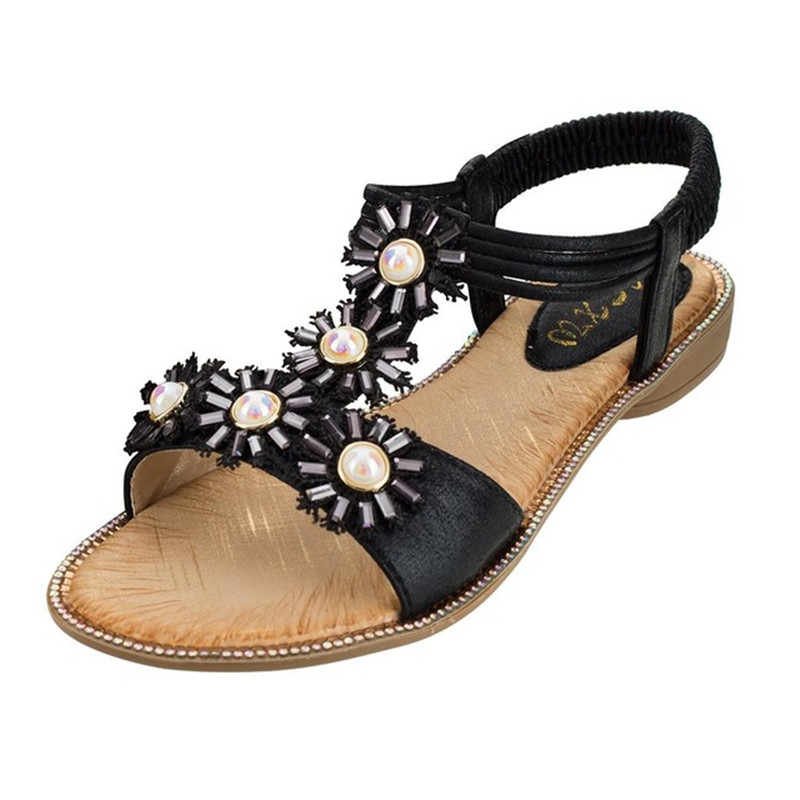 BEYARNEForeign Trade Women Large Size Bohemian Sun Flower Flat Pearl With Open Toe Sandals 2019 Sunmmer Sandalia Sandalia Femini