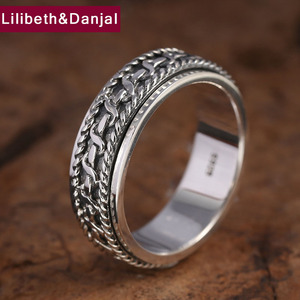 Image 3 - Vintage Black Ring 100% Real 925 Sterling Silver For Men and Women Spinning Thailand silver Joint Ring Jewelry FR5