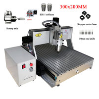 LY cnc 3020 engraving machine wood router 300x200mm 4axis usb parallel port 500w 800w 1500w for milling metal pcb plastic ER11