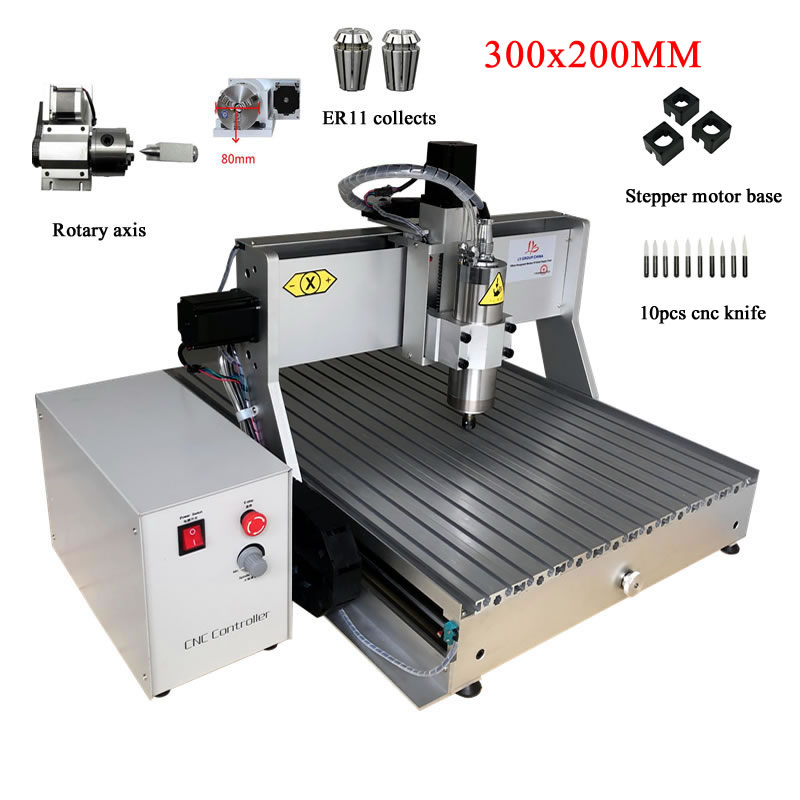LY <font><b>cnc</b></font> <font><b>3020</b></font> engraving machine wood <font><b>router</b></font> 300x200mm 4axis usb parallel port 500w 800w 1500w for milling metal pcb plastic ER11 image
