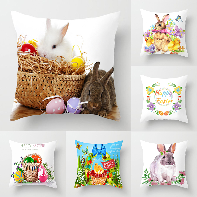 New Flamingo Decoration Easter Bunny Egg Pattern Sofa Pillowcase Pillowcase Hawaiian Party Decorations Hot Sale