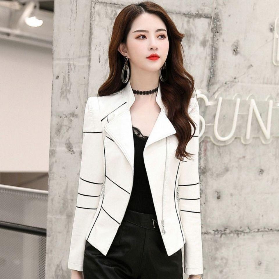 Women's Leather Jacket Coat Short 2021 New Motorcycle Slim Spring And Autumn Black White