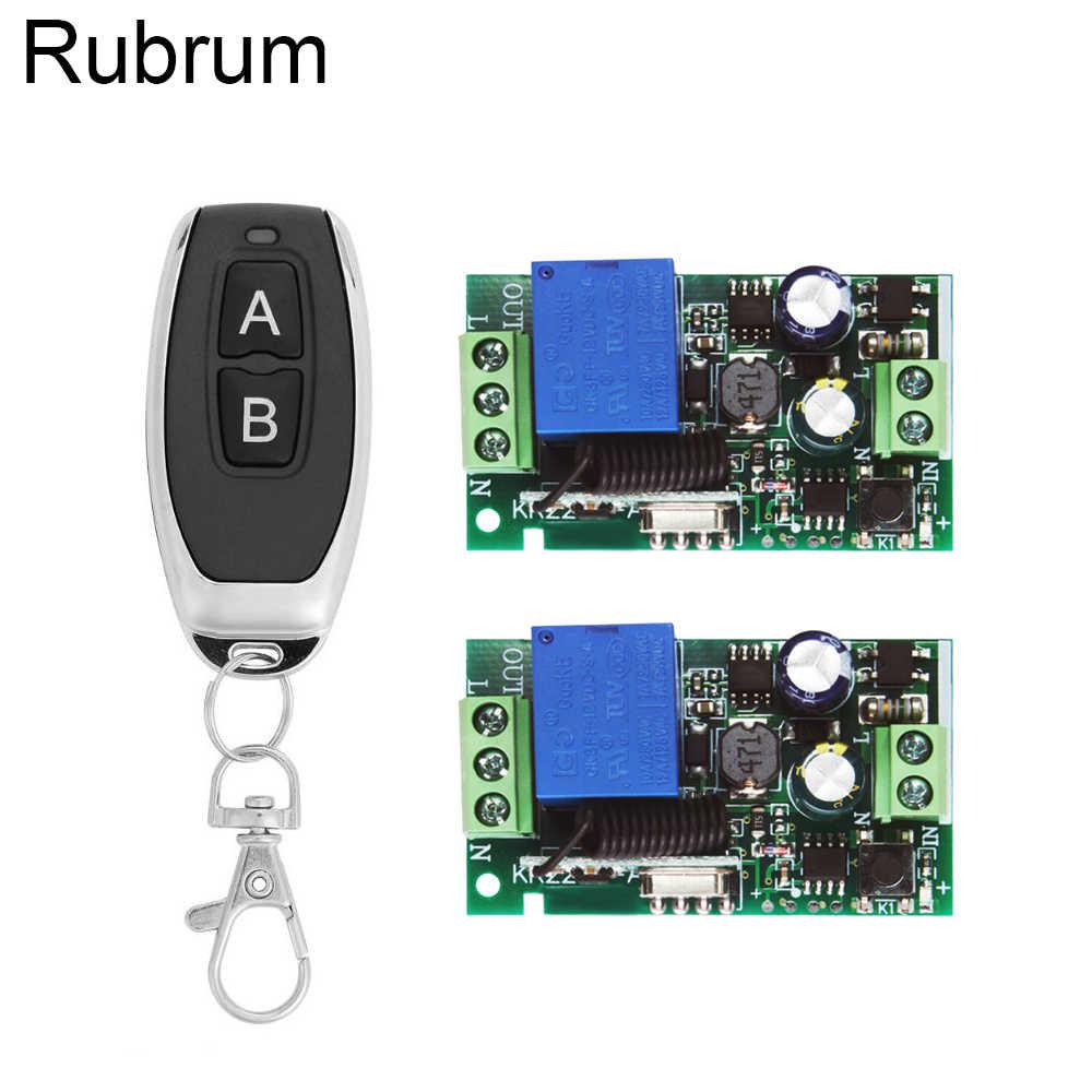 Rubrum 433 433mhz のユニバーサルワイヤレスリモコン AC 110V 220V 1CH リレー受信機モジュール & 433 Mhz 2 ボタンリモコン