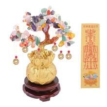 De cristal de árbol de la suerte decoración dinero ornamento para árbol Bonsai estilo riqueza suerte Feng Shui adorno Decoración de casa con Base
