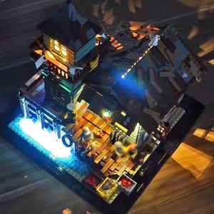 Image 2 - Pomysły stary sklep wędkarski ze światłem zestaw lepinlys budowa domu bloki 21310 cegły edukacyjne zabawki dla dzieci prezent na boże narodzenie