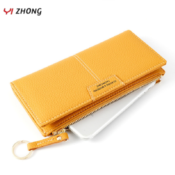 YIZHONG Wristband Leather Women Wallets and Purses Female Clutch Phone Coin Pocket Wallet Card Holder Purse Ladies Carteras