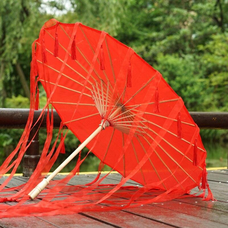 Soie Rose Parasol avec manche en bois CHINOIS PARAPLUIE accessoire robe fantaisie