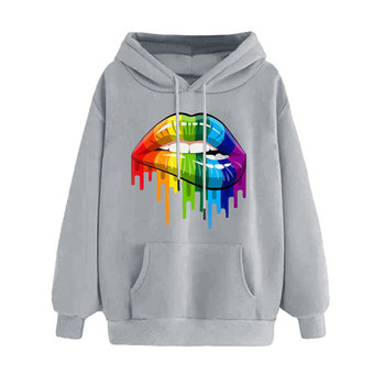 Autumn INS Celebrity Inspired Rainbow Candy-Colored Plus Velvet Women's Sweats & Hoodies Long-Sleeve European And American-Style