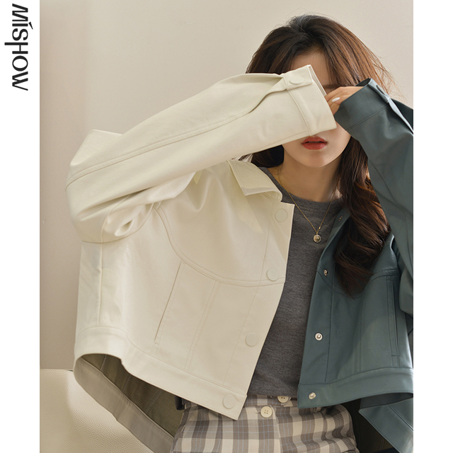 MISHOW Autumn Jacket For Women Streetwear Cropped Jacket Solid Wide Waisted Coat Female Outerwear MX20C9104
