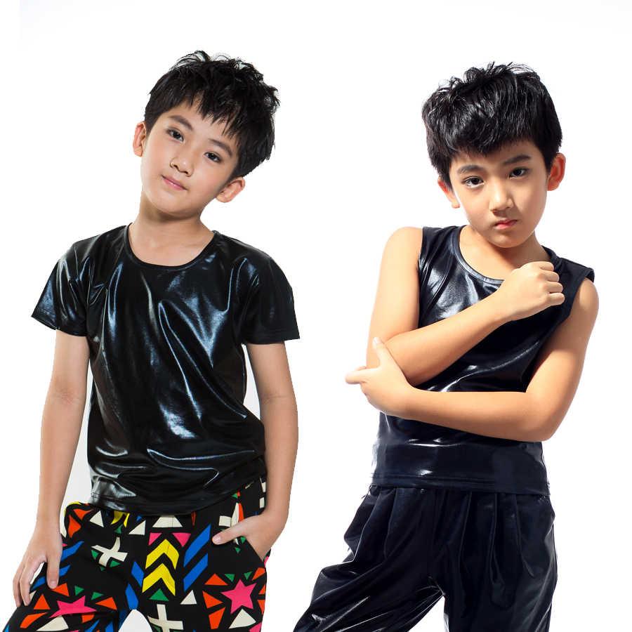 Los niños ropa hiphop etapa trajes niños de manga corta negro camiseta de piel Jazz danza disfraces de DQS2788