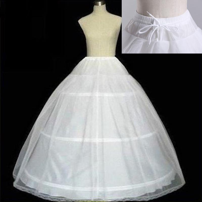 Free Shipping High Quality White 3 Hoops Petticoat Crinoline Slip Underskirt For Wedding Dress Bridal Gown In Stock 2020