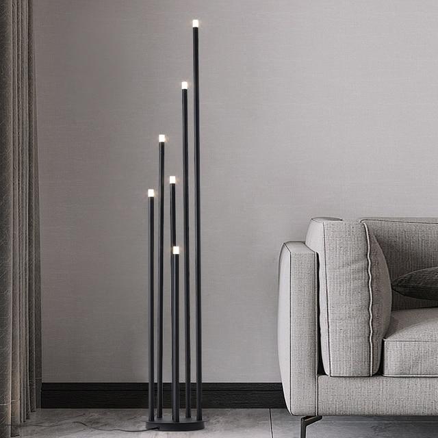 Lámpara LED de pie de rama de diseño, lámpara de pie negra mate de 12W para sala de estar nórdica, dormitorio, arte, decoración del hogar, iluminación de suelo