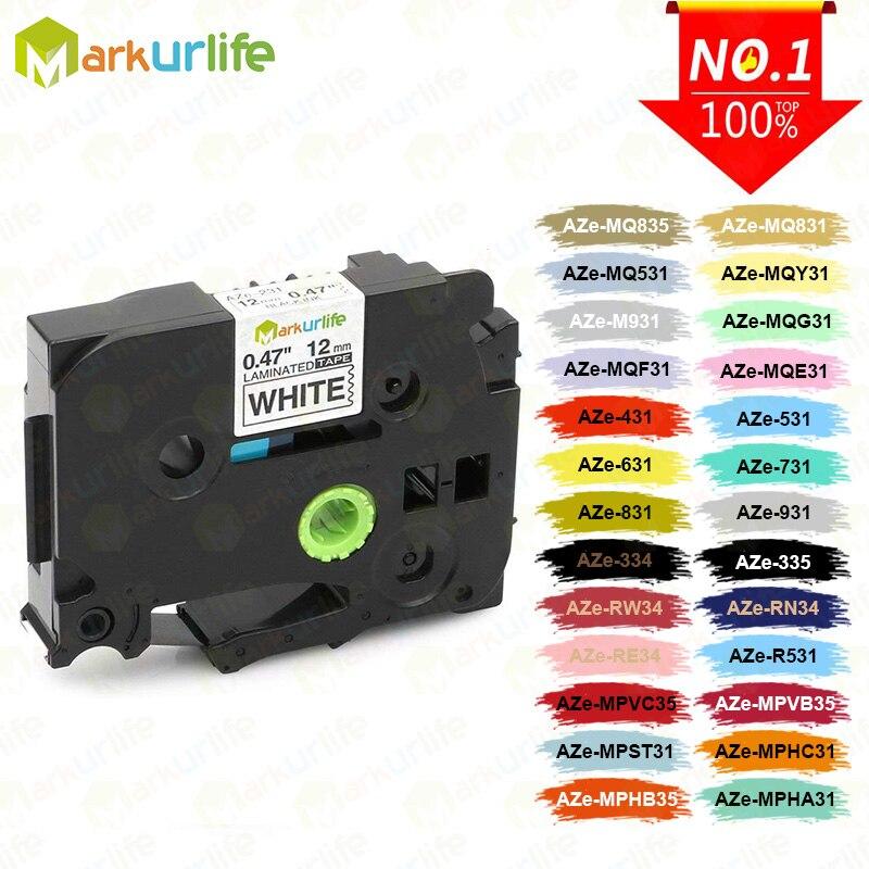 1 pc TZe-231 compatível para brother p-touch impressora etiqueta fita Tze-231 Tz-231 12mm preto em branco tz tze 231 laminado fitas