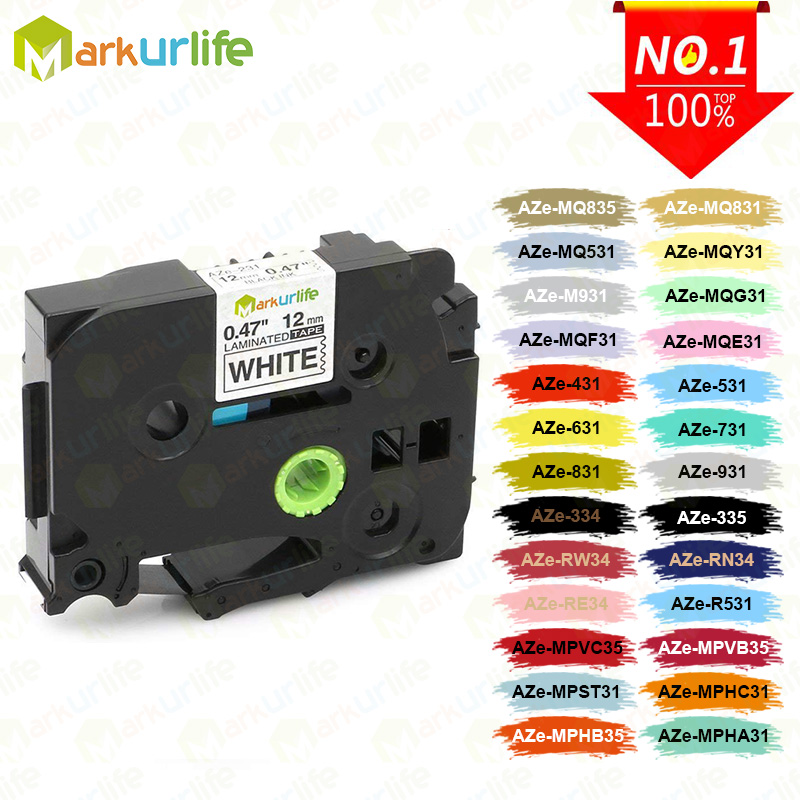 1PC TZe231 Compatible For Brother P-touch Printer Label Tape Tze-231 Tz-231 12mm Black On White TZ TZe 231 Laminated Ribbons