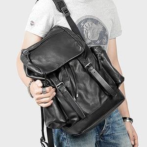 Image 2 - AETOO skórzany plecak ze skóry, skórzany plecak na ramię, męski skórzany plecak podróżny