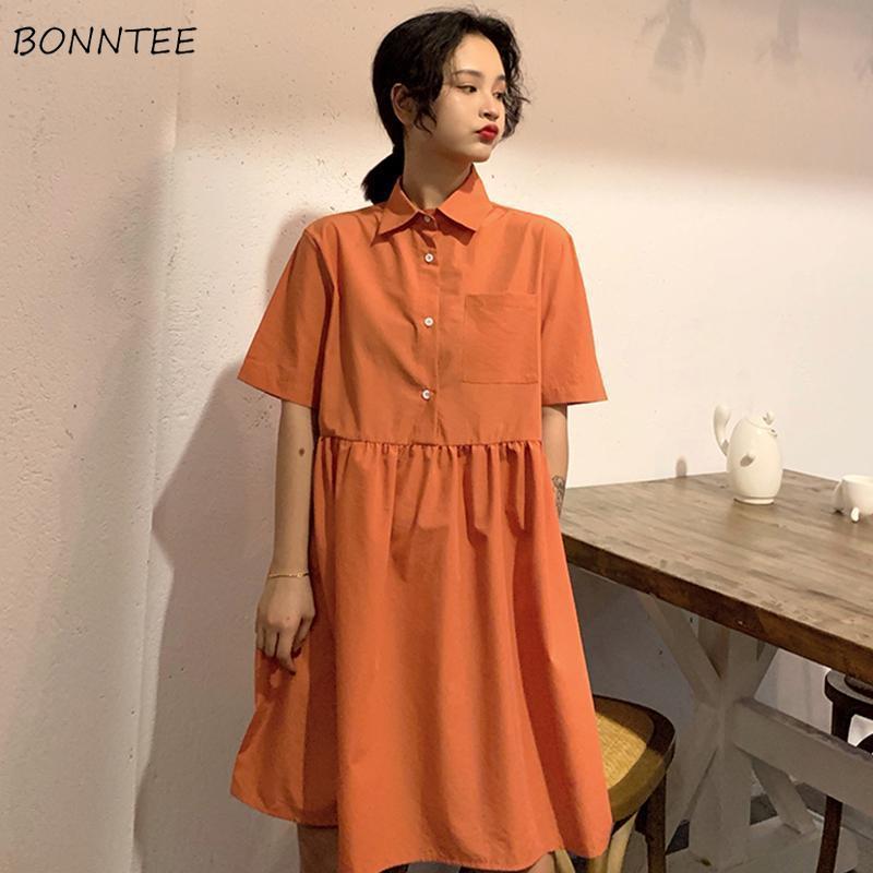 Женское платье в стиле Харадзюку, однотонное, ТРАПЕЦИЕВИДНОЕ, новые тренды, оранжевое, консервативный стиль, большие, свободные, Kawaii, для девочек, с отворотом, миди, туника, шикарная, популярная, Повседневная|Платья|   | АлиЭкспресс