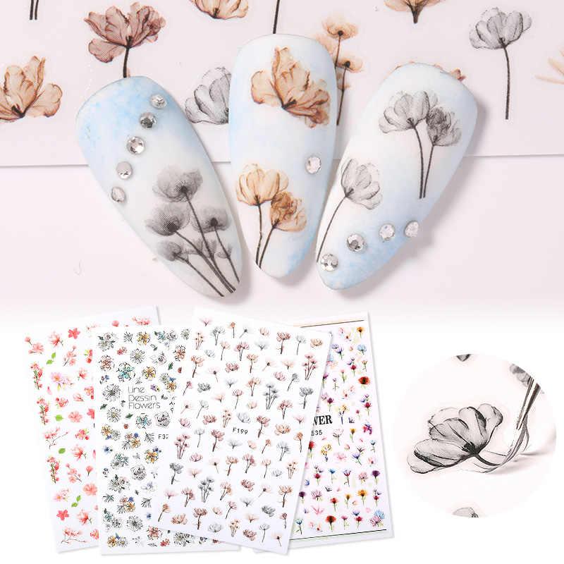1แผ่น3Dดอกไม้เล็บสติกเกอร์กาวพืชสีสันสวยงามดอกไม้เล็บสติ๊กเกอร์Decalsตกแต่งเล็บ